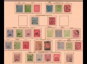 Fiji stamp collection until 1904 nearly complete, Stempelmarke, as well #1-7 */o