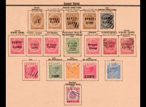 Malaysia states: Sungei, Ujong 1881-1895, better overprints #3,6,11,13,.., */o
