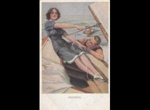 Ansichtskarte Segler 1918: München nach Halbflottille - Marine Post, F176
