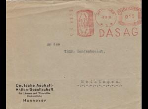 Freistempel 1930: DASAG Asphalt AG Hannover nach Meiningen