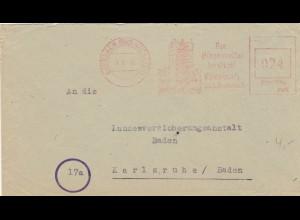 Freistempel 1946: Eberbach Bad Neckartal nach Karlsruhe