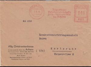 Freistempel 1946: Achern/Baden nach Karlsruhe