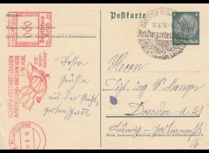 Freistempel 1936: Dresden Olympia Ausstellung, Reichgartenschau, Dresden
