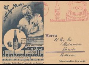 Freistempel 1935: Heilquellenversand Bad Wildungen, Sprudelbäder, Reinhardquelle