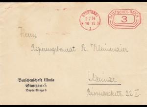 Freistempel 1934: Burschenschaft Ulmia, Stuttgart nach Weimar