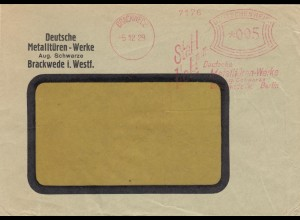 Freistempel 1929: Brackwede i. Westfalen, Metalltüren-Werke, Berlin