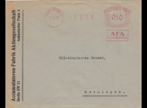 Freistempel 1926: Berlin AFA Accumulatoren Fabrik nach Meiningen