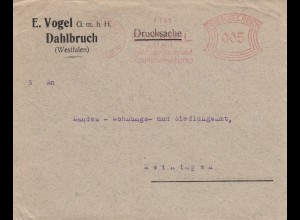 Freistempel 1928: Drucksache Dahlbruch Wallblech nach Meiningen