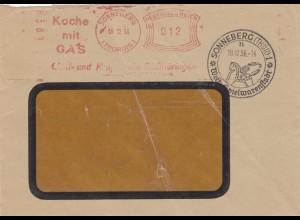 Freistempel 1936 Sonneberg/Thüringen Spielwarenstadt, Koche mit Gas, Holzpferd