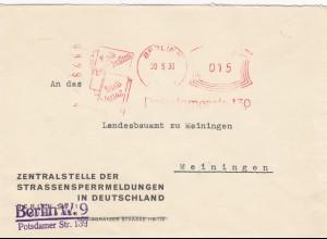 Freistempel 1930: Berlin Zentralstelle Strassensperrmeldungen nach Meiningen