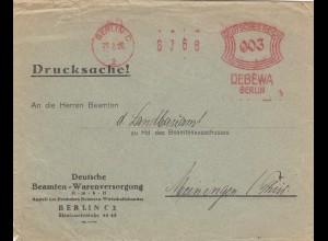 Freistempel 1926 Berlin Drucksache DEBEWA Beamten Warenversorgung nach Meiningen