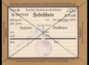 Bahnpost: Fahrschein 3. Klasse, Schweinfurt Freifahrt