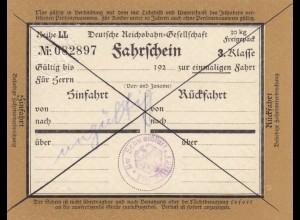Bahnpost: Fahrschein 3. Klasse, Schweinfurt, Hinfahrt-Rückfahrt