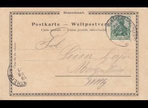 Ansichtskarte Würzburg, Bahnpoststempel Wertheim-Mergentheimi 1903