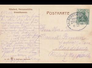 Ansichtskarte Rübeland Kristallkammer; Bahnpost 1911, Halberstadt-Tanne