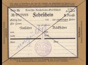 Bahnpost: Fahrschein 3. Klasse, Schweinfurt, ungültig
