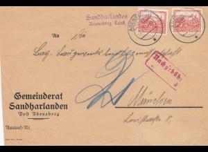 Sanharlanden, Post Abensberg nach München, Nachgebühr Vorderseite, Nothilfe