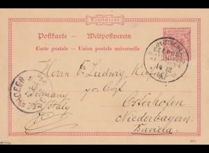 S.S. Habsburg 1893, Ganzsache Deutsche Seepost Australien nach Osterhofen
