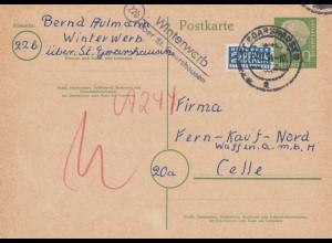 Ganzsache 1954 von Winterwerb über St. Goarshausen nach Celle