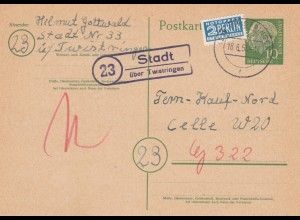 Ganzsache 1954 von Stadt über Twistringen nach Celle