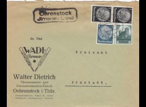 Brief Ohrenstock über Ilmenau Land, WADI Thermometer nach Arnstadt 1934