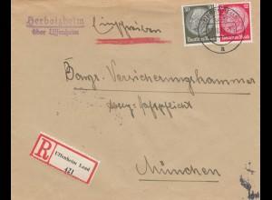 Einschreiben Herbolzheim über Uffenheim nach München 1933