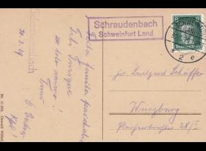 Postkarte 1929: Schraudenbach über Schweinfurt Land nach Würzburg
