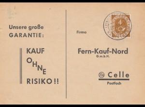 Postkarte Oberaden / Kamen 1953 nach Celle, Bestellung Patronen