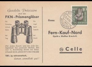 Bestellkarte Ferngläser Stettenhofen bei Augsburg nach Celle 1956