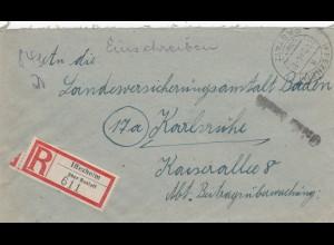 Einschreiben Iffezheim über Rastatt nach Karlsruhe 1946