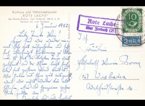 Ansichtskarte Rote Lache über Forbach bei Baden-Baden 1952