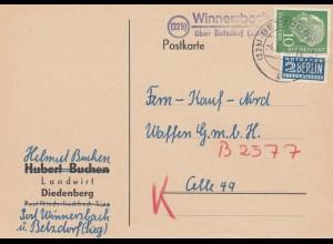 Postkarte 1955 Winnersbach über Betzdorf nach Celle