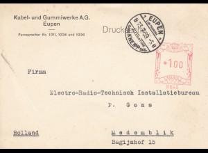 Vorbescheid-Karte 1939 von Eupen/Kneipp Bad nach Medemblik