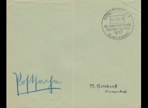 Blanko Kuvert 1937: 10. internationale Dental-Schau, Düsseldorf
