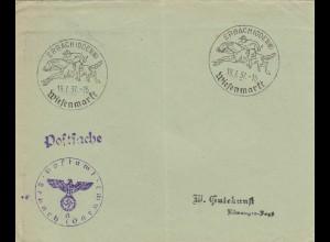 Blanko Kuvert 1937: Wiesenmarkt Erbach /Odenwald, Reiter, Jockey, Pferd