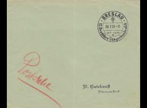 Blanko Kuvert 1937: Breslau: 12. Deutsches Sängerbundesfest