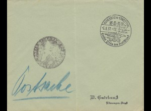 Postsache Kuvert 1937: Hohenstein-Ernstthal: Großer Preis von Deutschland NSKK Motor Brigade Sachsen
