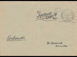 Postsache Kuvert 1937: Sonderpostamt Königsdorf über Bad Tölz, Hochland Lager HJ