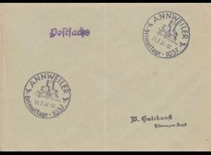 Postsache Kuvert 1937: Annweiler Heimattage
