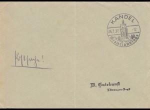 Postsache Kuvert 1937: Kandel Grenzlandtage