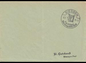 Postsache Kuvert 1938: Giessen 3. Hessisches Gau-Sängerfest, Harfe