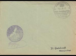 Postsache Kuvert 1938: Darmstadt: 1. Großdeutsche Schwimmmeisterschaften
