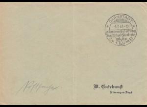 Postsache Kuvert 1937: Darmstadt: Schwimm-Länderkampf Deutschland-Frankreich
