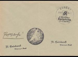 Postsache Kuvert 1937: Essen: 4. Deutscher Apothekertag