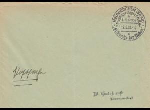 Postsache Kuvert 1937: Neunkirchen/Saar Feldwache der Nation, Groß-lager