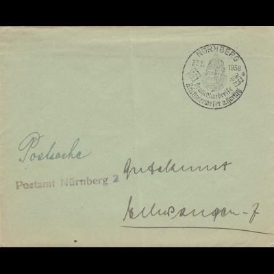 Postsache Kuvert 1938: Nürnberg Deutschlandreise Reichsverweser v. Horthy