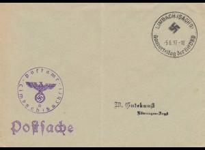 Postsache Kuvert 1938: Limbach/Sachsen: Gauparteitag der NSDAP