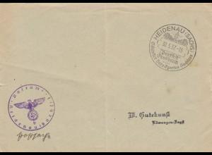 Postsache Kuvert 1937: Heidenau/Sachsen Parkfest Großstedlitz, Barockgarten Sachsens