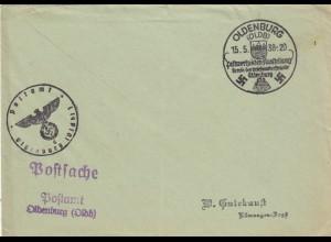 Postsache Kuvert 1938: Oldenburg: Postwertzeichen Ausstellung