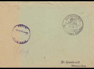 Postsache Kuvert 1938: Meiningen Ausstellung